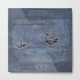 Tribal Boats in the Night Metal Print