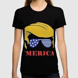 Merica 2020, trump hair style, american flag T-shirt