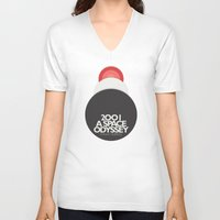 2001 a space odyssey V-neck T-shirts featuring 2001 a Space Odyssey - Stanley Kubrick Movie Poster by Stefanoreves