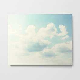 White Fluffy Clouds Metal Print
