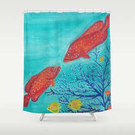 Spotted Red Grouper Shower Curtain