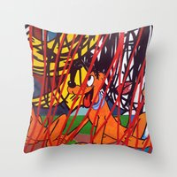 lichtenstein Throw Pillows featuring LICHTENSTEIN/PLUTO by Brandon Neher