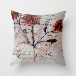Vintage Ephemera Strawflower Throw Pillow