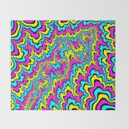 CMYK fractal trippiness Throw Blanket