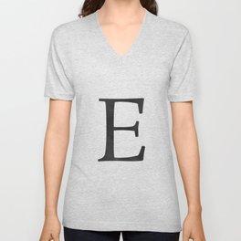 Letter E Initial Monogram Black and White Unisex V-Neck