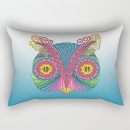 Owl Head with Peace Signs Rectangular Pillow