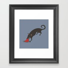 Black Dog burying a Heart Framed Art Print