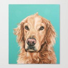 Handsome Golden Retriever Painting, Golden Retriever Portrait, Stately Golden Retriever Dog Art Canvas Print