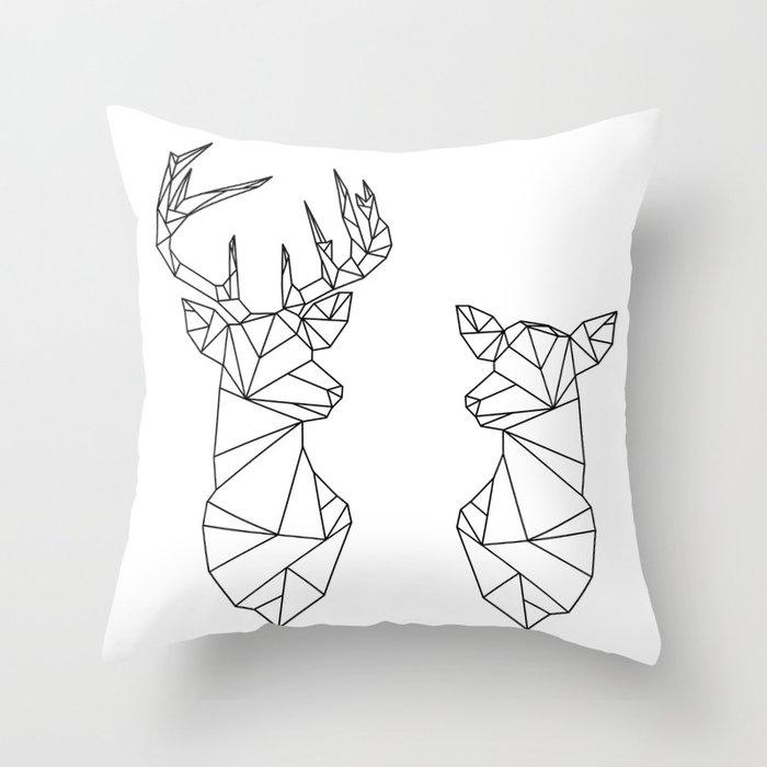 geometric stag and doe black on white throw pillow by Doe Email Login geometric stag and doe black on white throw pillow