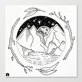 Moon Over Mountain Range Circular Botanical Illustration Canvas Print