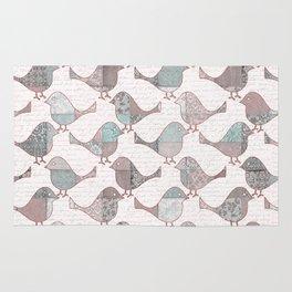 Vintage  Patchwork Birds Handwriting pastel pattern Rug