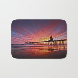 Sunset Huntington Beach Pier CA   Bath Mat