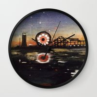 boardwalk empire Wall Clocks featuring Boardwalk by Leon T. Arrieta