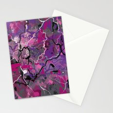 Abstract Colorful Lines and Splashes Stationery Cards