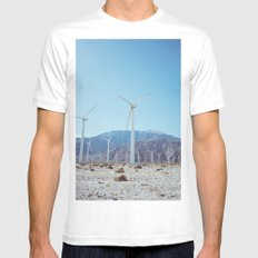 Palm Springs Windmills IV Mens Fitted Tee MEDIUM White