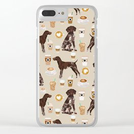 German Shorthair Pointer dog breed custom pet portrait coffee lover pet friendly gifts Clear iPhone Case