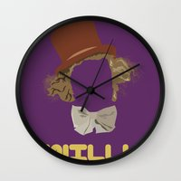willy wonka Wall Clocks featuring Willy Wonka and you by Ally Simmons