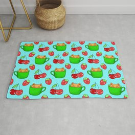 Cute happy playful funny Kawaii baby kittens sitting in little green espresso coffee cups, sweet ripe yummy red summer cherries and strawberries fruity pastel blue design. Rug