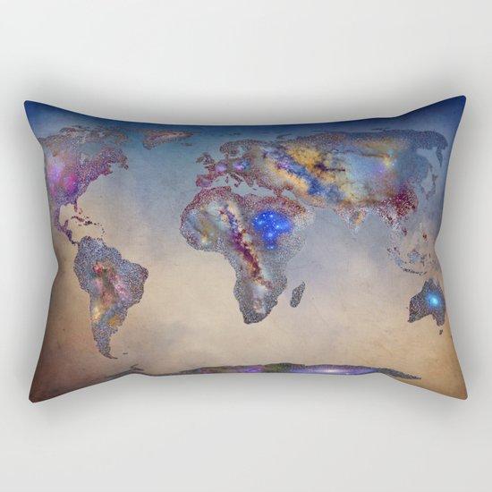 Stars world map. Blue Rectangular Pillow