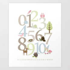 Woodland Numbers - Pink Art Print