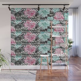 Vintage black pink teal watercolor floral lace Wall Mural