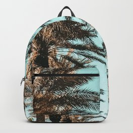 {1 of 2} Palm Tree Canopy // Tropical Summer Beach Teal Shaded Sky Backpack
