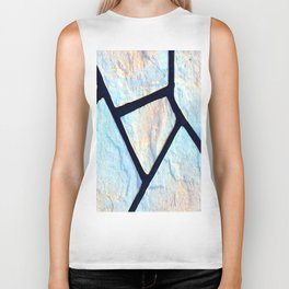 stone black line uneven ocean blue brown pattern Biker Tank