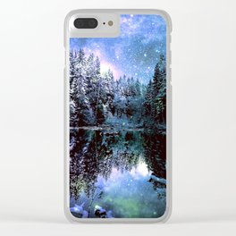 A Cold Winters Night : Violet Teal Green Winter Wonderland Clear iPhone Case