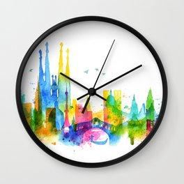 Silhouette overlay city Wall Clock