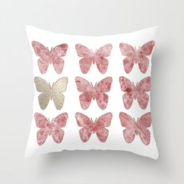 Golden rosy mauve butterflies Throw Pillow