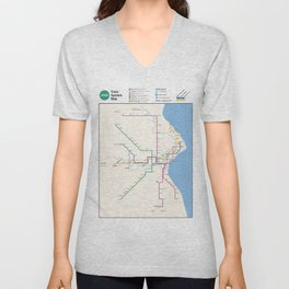 Milwaukee Transit System Map Unisex V-Neck