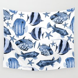 Fish Underwater Watercolor Pattern Wall Tapestry