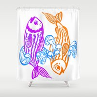 zodiac Shower Curtains featuring Zodiac - Pisces by Rebelot