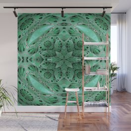 Mint Green Cosmic Star Meditation Mandala Depth print Wall Mural
