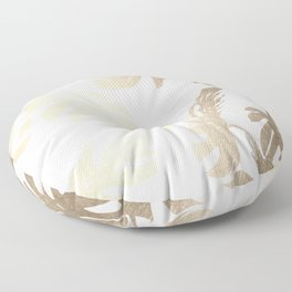 Simply Tropical Palm Leaves in White Gold Sands Floor Pillow
