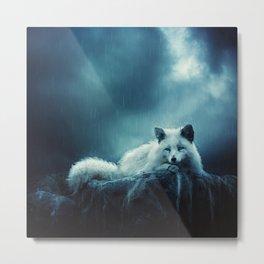 White Fox Metal Print