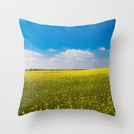 Drifting Days - Blissful Spring Day of Blue Skies and Yellow Canola Fields Throw Pillow