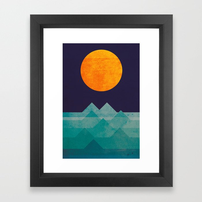 The ocean, the sea, the wave - night scene Framed Art Print