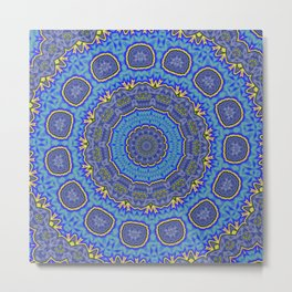 Intricate Purple, Blue  and Vivid Yellow Abstract Kaleidoscope Metal Print