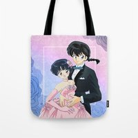 inuyasha Tote Bags featuring Ranma & Akane by Neo Crystal Tokyo