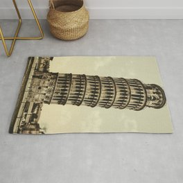 Vintage Leaning Tower of Pisa Photograph (1900) Rug