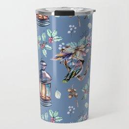Watercolor pattern with heart, bird, lantern, candle, candlestick. Travel Mug