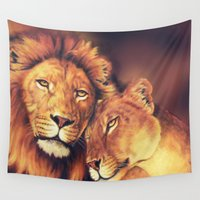 lions Wall Tapestries featuring Lions Soulmates by Moody Muse
