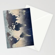 World Map Gray Stationery Cards