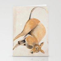 kangaroo Stationery Cards featuring Kangaroo by 1k Blooms Studios