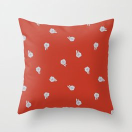Cube Bunny Pattern - Red Throw Pillow