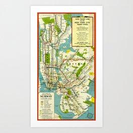 Vintage Map - Rapid Transit Map of New York City (1948) Art Print