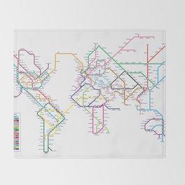 World Metro Subway Map Throw Blanket
