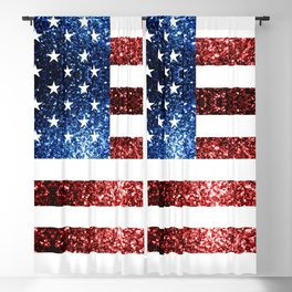 USA flag red blue sparkles glitters Blackout Curtain