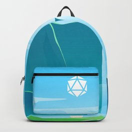 Waterfalls and Mountains D20 Dice Sun Tabletop RPG Landscape Backpack